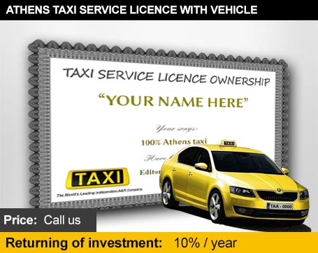 Athens taxi licence with vehicle
